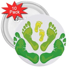 Soles Feet Green Yellow Family 3  Buttons (10 Pack)