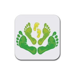 Soles Feet Green Yellow Family Rubber Square Coaster (4 Pack)