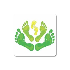 Soles Feet Green Yellow Family Square Magnet