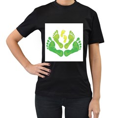 Soles Feet Green Yellow Family Women s T-Shirt (Black) (Two Sided)