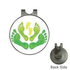Soles Feet Green Yellow Family Hat Clips with Golf Markers