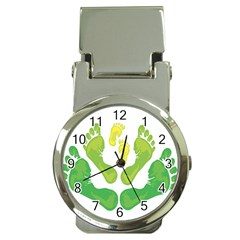 Soles Feet Green Yellow Family Money Clip Watches