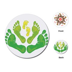 Soles Feet Green Yellow Family Playing Cards (Round)