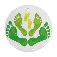 Soles Feet Green Yellow Family Round Ornament (Two Sides)