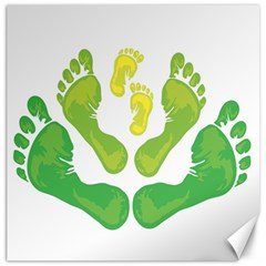 Soles Feet Green Yellow Family Canvas 12  x 12