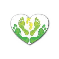 Soles Feet Green Yellow Family Rubber Coaster (Heart)