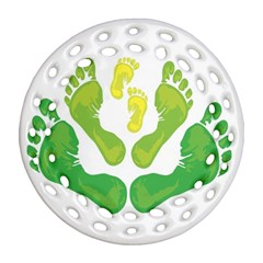Soles Feet Green Yellow Family Ornament (Round Filigree)