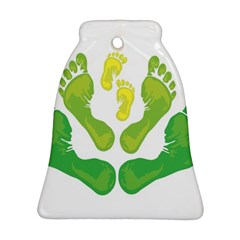 Soles Feet Green Yellow Family Bell Ornament (Two Sides)