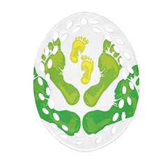 Soles Feet Green Yellow Family Ornament (Oval Filigree)