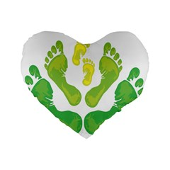 Soles Feet Green Yellow Family Standard 16  Premium Heart Shape Cushions
