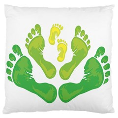 Soles Feet Green Yellow Family Large Flano Cushion Case (Two Sides)