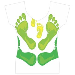 Soles Feet Green Yellow Family Women s V-Neck Cap Sleeve Top