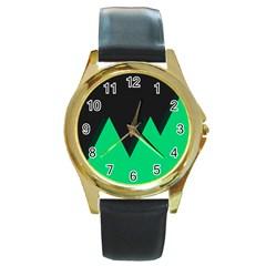 Soaring Mountains Nexus Black Green Round Gold Metal Watch