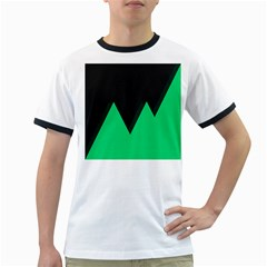 Soaring Mountains Nexus Black Green Ringer T-Shirts