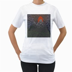 Sun Line Lighs Nets Green Orange Geometric Mountains Women s T Shirt (white) (two Sided)