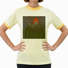 Sun Line Lighs Nets Green Orange Geometric Mountains Women s Fitted Ringer T-Shirts