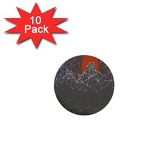 Sun Line Lighs Nets Green Orange Geometric Mountains 1  Mini Buttons (10 Pack)