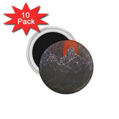 Sun Line Lighs Nets Green Orange Geometric Mountains 1.75  Magnets (10 pack)