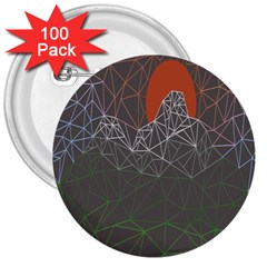 Sun Line Lighs Nets Green Orange Geometric Mountains 3  Buttons (100 pack)