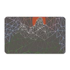 Sun Line Lighs Nets Green Orange Geometric Mountains Magnet (Rectangular)