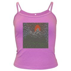 Sun Line Lighs Nets Green Orange Geometric Mountains Dark Spaghetti Tank