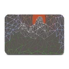 Sun Line Lighs Nets Green Orange Geometric Mountains Plate Mats