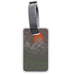 Sun Line Lighs Nets Green Orange Geometric Mountains Luggage Tags (Two Sides)