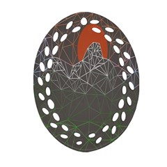 Sun Line Lighs Nets Green Orange Geometric Mountains Oval Filigree Ornament (Two Sides)