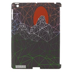 Sun Line Lighs Nets Green Orange Geometric Mountains Apple Ipad 3/4 Hardshell Case (compatible With Smart Cover)