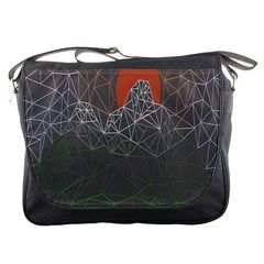 Sun Line Lighs Nets Green Orange Geometric Mountains Messenger Bags