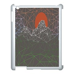 Sun Line Lighs Nets Green Orange Geometric Mountains Apple iPad 3/4 Case (White)