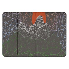 Sun Line Lighs Nets Green Orange Geometric Mountains Samsung Galaxy Tab 8.9  P7300 Flip Case