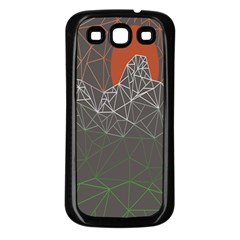 Sun Line Lighs Nets Green Orange Geometric Mountains Samsung Galaxy S3 Back Case (Black)