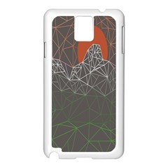 Sun Line Lighs Nets Green Orange Geometric Mountains Samsung Galaxy Note 3 N9005 Case (White)