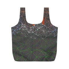 Sun Line Lighs Nets Green Orange Geometric Mountains Full Print Recycle Bags (M)