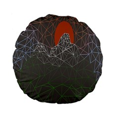 Sun Line Lighs Nets Green Orange Geometric Mountains Standard 15  Premium Flano Round Cushions