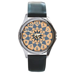 Stellated Regular Dodecagons Center Clock Face Number Star Round Metal Watch