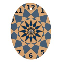 Stellated Regular Dodecagons Center Clock Face Number Star Ornament (Oval)