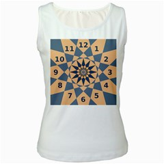 Stellated Regular Dodecagons Center Clock Face Number Star Women s White Tank Top