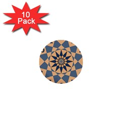 Stellated Regular Dodecagons Center Clock Face Number Star 1  Mini Buttons (10 pack)