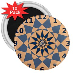 Stellated Regular Dodecagons Center Clock Face Number Star 3  Magnets (10 pack)
