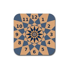 Stellated Regular Dodecagons Center Clock Face Number Star Rubber Square Coaster (4 pack)