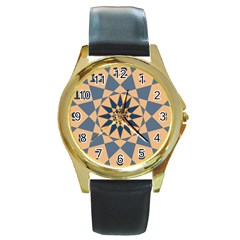 Stellated Regular Dodecagons Center Clock Face Number Star Round Gold Metal Watch