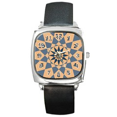 Stellated Regular Dodecagons Center Clock Face Number Star Square Metal Watch
