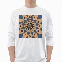 Stellated Regular Dodecagons Center Clock Face Number Star White Long Sleeve T-Shirts