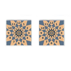 Stellated Regular Dodecagons Center Clock Face Number Star Cufflinks (square)