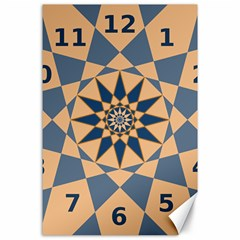 Stellated Regular Dodecagons Center Clock Face Number Star Canvas 24  x 36