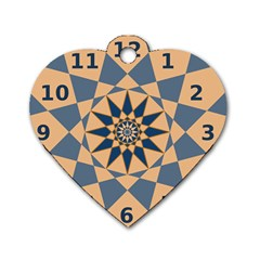 Stellated Regular Dodecagons Center Clock Face Number Star Dog Tag Heart (One Side)