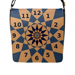 Stellated Regular Dodecagons Center Clock Face Number Star Flap Messenger Bag (L)