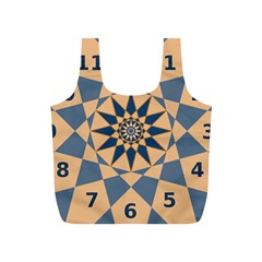Stellated Regular Dodecagons Center Clock Face Number Star Full Print Recycle Bags (S)